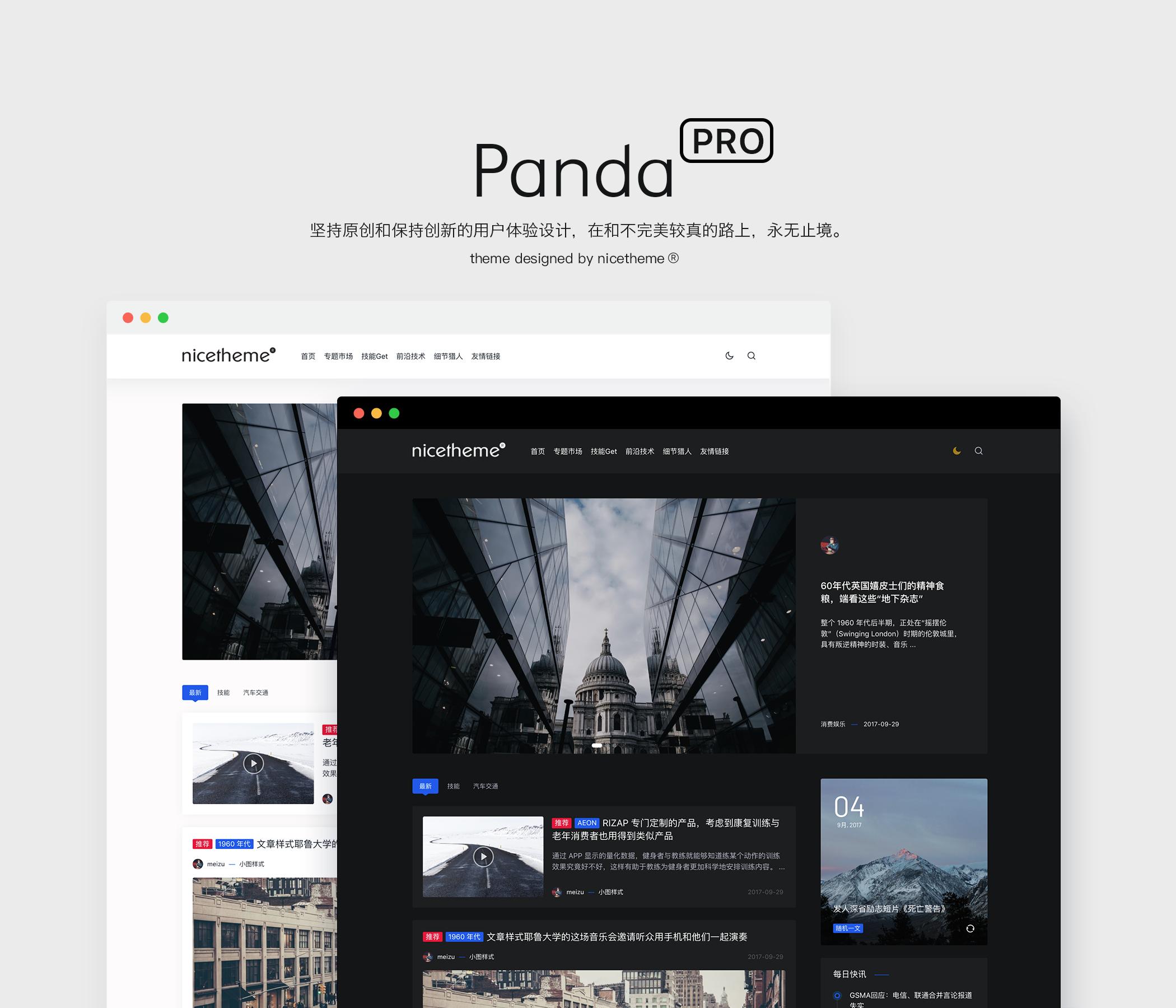 WordPress博客主题:Panda PRO 主题 预售-nicetheme